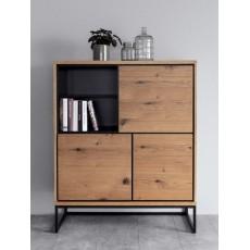 Komoda skříňka FRAHAN 20806A 125x102x45cm dřevo dub kov dřevolaminát dekor dub