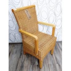 Jídelní židle s područkami 21381A 95x52x56 cm dřevo pinie ratan