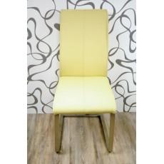Jídelní židle 9170 A žlutá 100x39-43x55 cm kov kůže