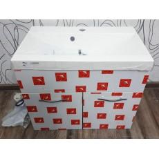 Sada skříňka a umyvadlo 21859A 52x60x35 cm dřevolaminát kov keramika barva bílá