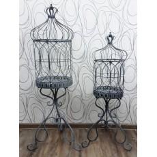 Set 2 ks desingových kovových dekorací KLEC 115x45 cm a 95x40 cm kov barva šedobílá patina PROVENCE