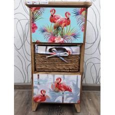 Malovaná komoda se šuplíky HOFMANN 22169A 58x30x27 cm dřevo ratan textilie