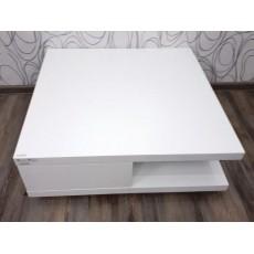 Konferenční stolek HILJA se šuplíky 22607A 30x85x85 cm MDF dřevolaminát barva bílá povrch lesklý