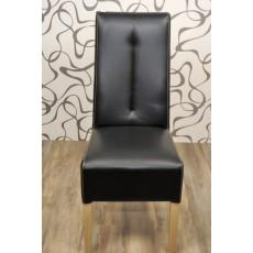 Jídelní čalouněná židle 8429A černá 105x45x50 cm imitace kůže dřevo