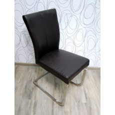Čalouněná židle 15156A 90x39x62 cm kov koženka tmavě hnědá