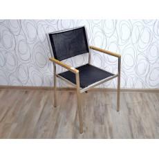 Zahradní židle křeslo 15249A86x55x58 cm teak nerez textilie