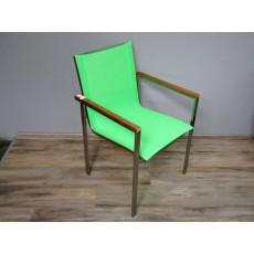 Zahradní židle křeslo 15463A 86x56x60 cm dřevo kov textilie
