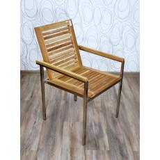Zahradní židle křeslo 15263A 86x55x60 cm teak nerez