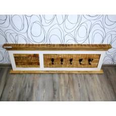 Věšák na stěnu 16947A 40x120x6 cm dřevo masiv kov