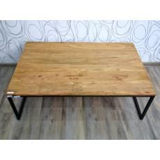 Konferenční stolek 17056A 35x110x70 cm exotické dřevo masiv kov