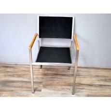 Zahradní židle křeslo TEAKLINE EXKLUSIV 17487A 86x55x54 cm textilie nerez kov teakové dřevo