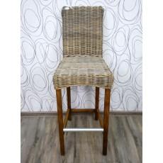 Barová židle CARACAS KUBU 17337A 119x37x58 cm ratan dřevo kov