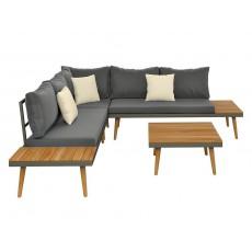Zahradní sedací souprava MAUI se stolkem 19011A 60x200x200 cm akácie kov